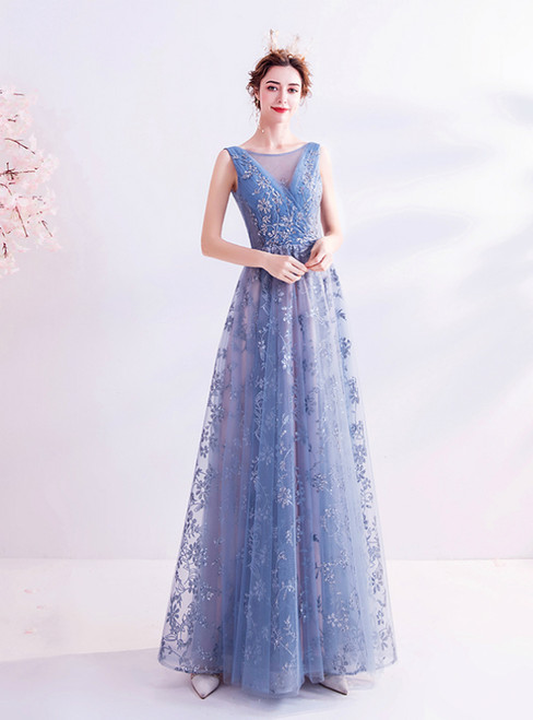 In Stock:Ship in 48 Hours Blue Tulle Sequins Open Back Prom Dress 2020