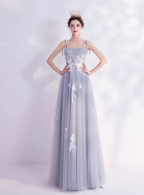 In Stock:Ship in 48 Hours Gray Tulle Spaghetti Straps Appliques Prom Dress 2020