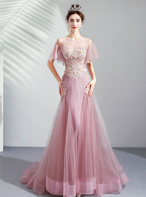 In Stock:Ship in 48 Hours Pink Tulle Mermaid Beading Appliques Prom Dress 2020