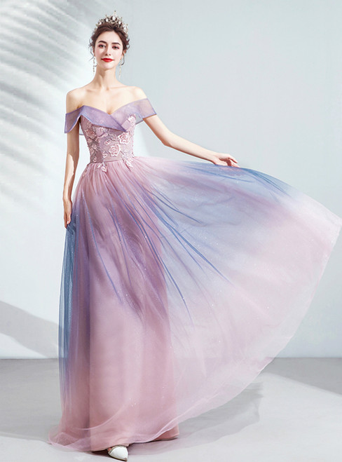 In Stock:Ship in 48 Hours Pink Tulle Off the Shoulder Appliques Sequins Prom Dress 2020