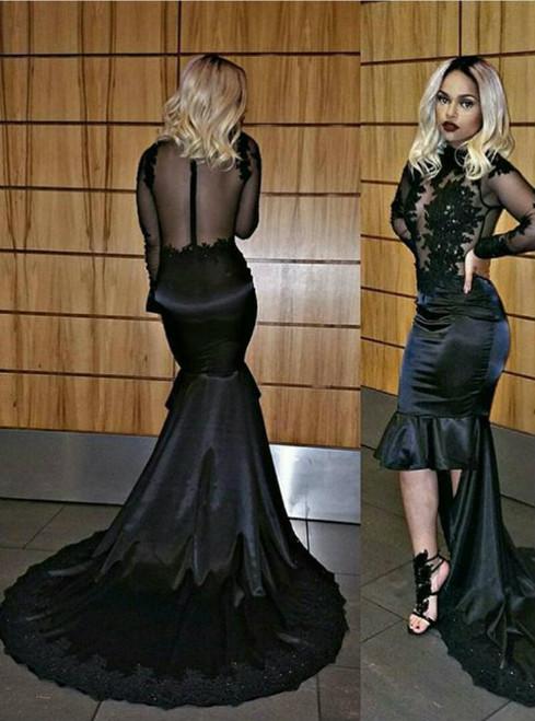 Black Prom Dress 2017Jewel Neckline Long Sleeves High Low Dress