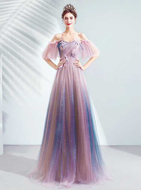 In Stock:Ship in 48 Hours Pink Tulle Sequins Spagehtti Straps Prom Dress 2020