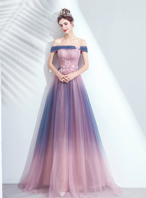 In Stock:Ship in 48 Hours Pink Tulle Off the Shoulder Embroidery Prom Dress 2020