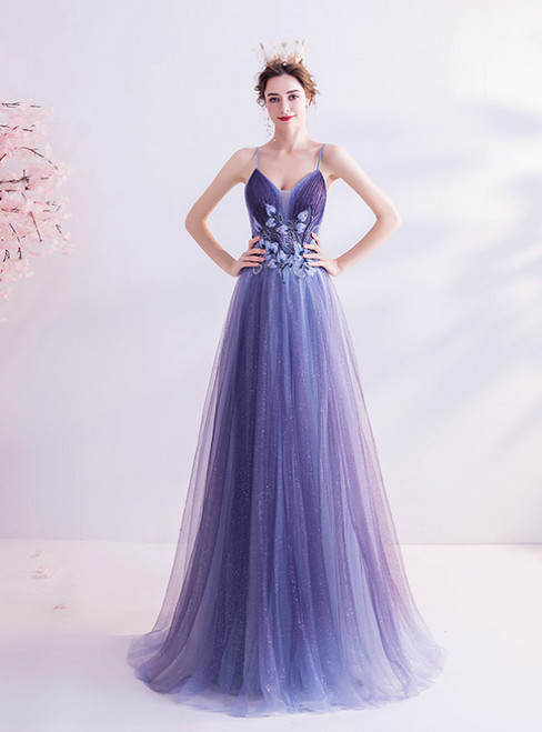 In Stock:Ship in 48 Hours Blue Tulle Sequins Appliques Prom Dress