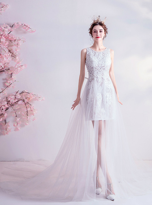 In Stock:Ship in 48 Hours White Tulle Lace Appliques Wedding Dress