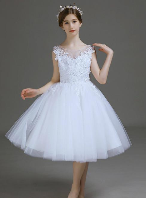 A-Line White Tulle Appliques Short Flower Girl Dress 2020