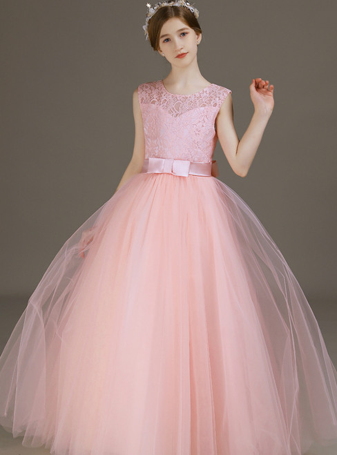 A-Line Pink Tulle Lace Flower Girl Dress With Bow