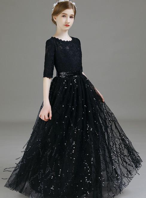 Black Lace Short Sleeve Tassels Sequins Flower Girl Dress 2020