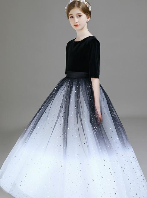 A-Line Black Tulle Sequins Velvet Short Sleeve Flower Girl Dress 2020