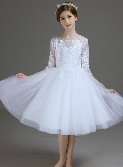 A-Line White Tulle Appliques Knee Length Flower Girl Dress 2020