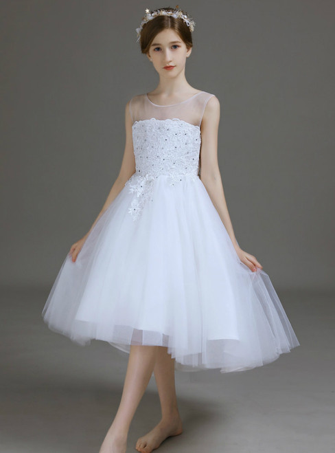 A-Line White Hi Lo Tulle Lace Appliques Beading Flower Girl Dress 2020