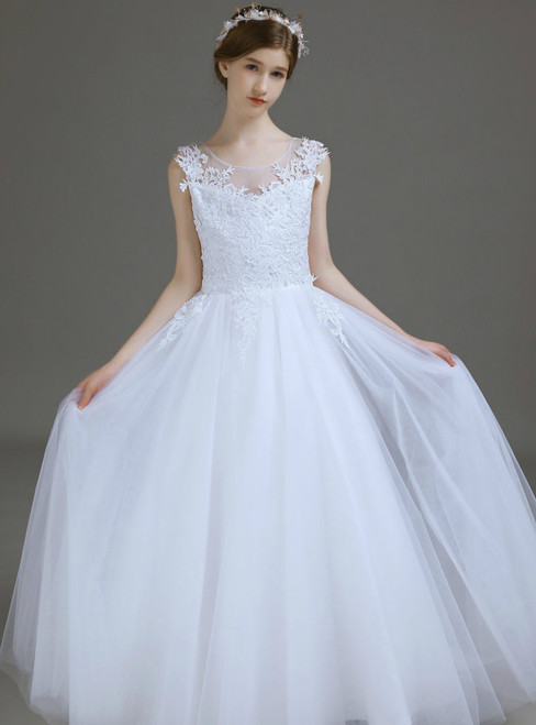 A-Line White Tulle Lace Appliques Long Flower Girl Dress