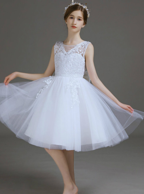 A-Line White Tulle Lace Short Flower Girl Dress With Bow 2020