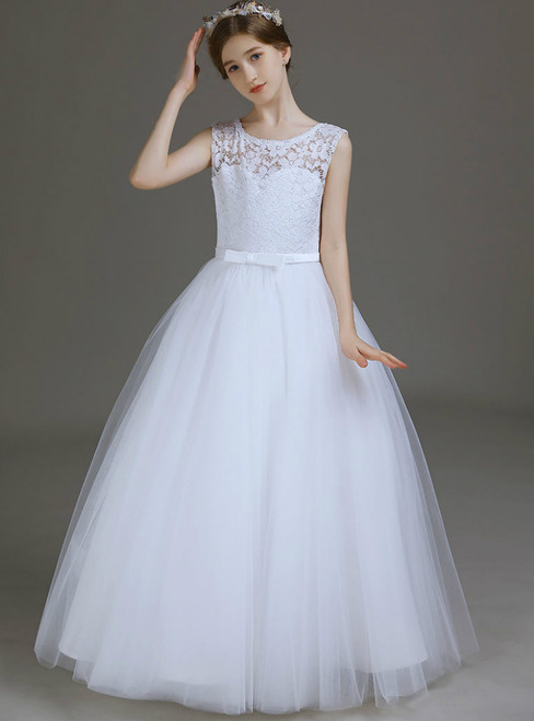 A-Linw White Tulle Lace Long Flower Girl Dress With Bow 2020