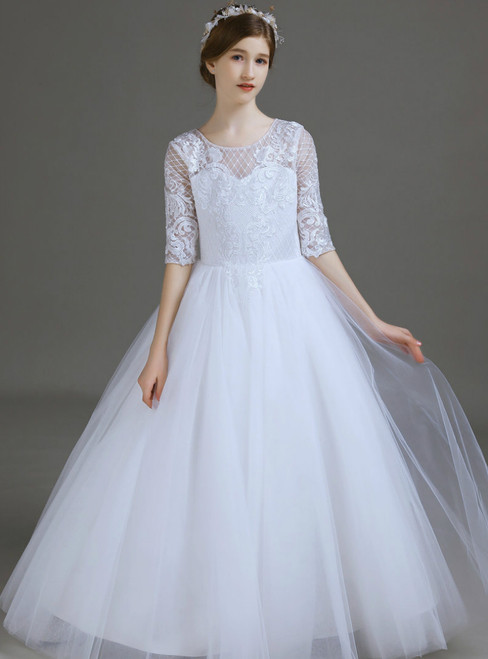 White Tulle Lace Appliques Short Sleeve Long Flower Girl Dress 2020
