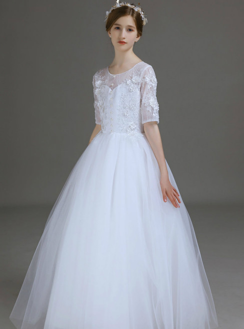 A-Line White Tulle Lace Appliques Short Sleeve Flower Girl Dress 2020