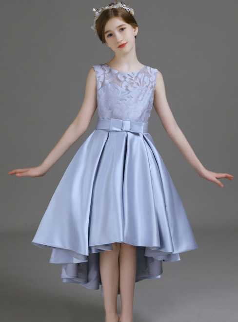 A-Line Silver Gray Satin Hi Lo Flower Girl Dress With Bow