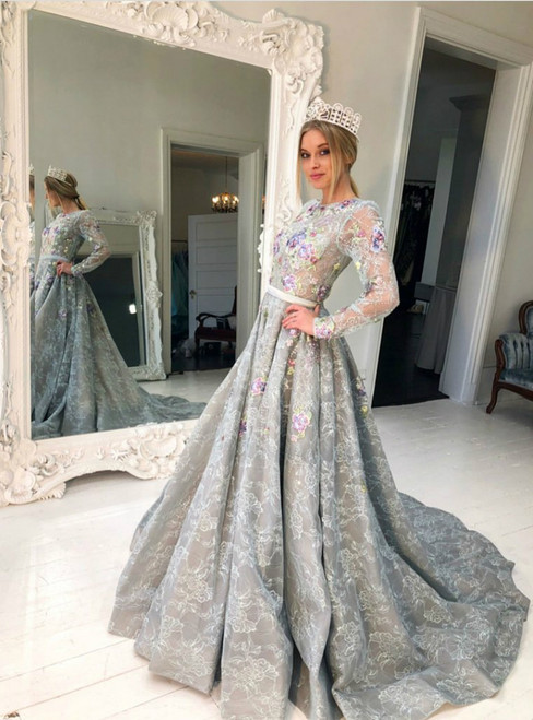 Long Sleeve Gray Lace Jewel Neckline A-line Prom Dresses With Print