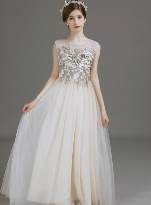 A-Line Champagne Tulle Appliques Long Flower Girl Dress
