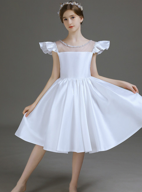 Simple White Satin Short Knee Length Flower Girl Dress With Bow