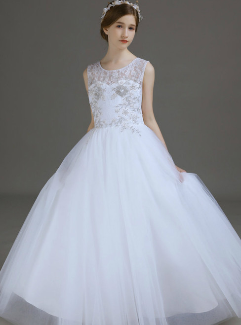 White Tulle Lace Sleeveless Flower Girl Dress With Beading  2020