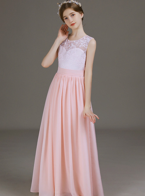 A-Line Pink Chiffon Lace Long Flower Girl Dress