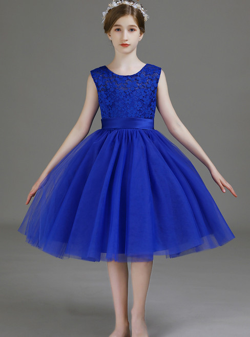 A-Line Royal Blue Tulle Lace Knee Length Flower Girl Dress 2020
