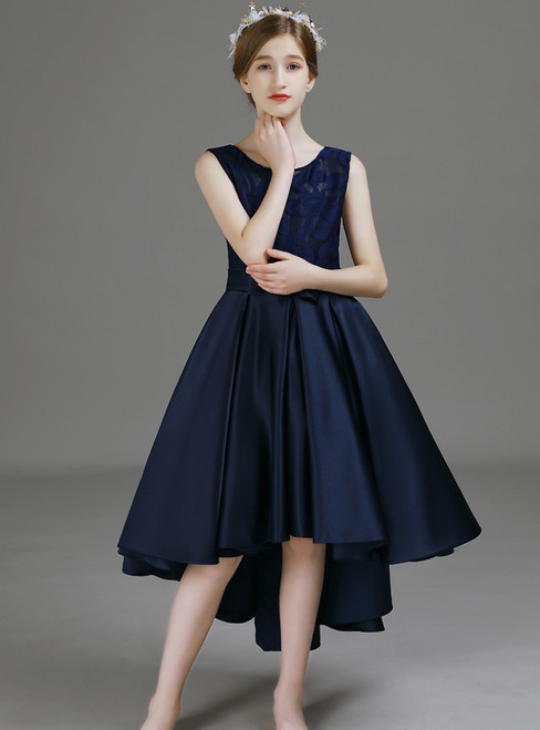 A-Line Navy Blue Satin Hi Lo Flower Girl Dress