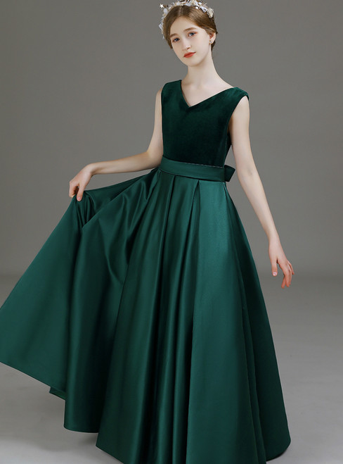 A-Line Green Satin Velvet V-neck Long Flower Girl Dress 2020