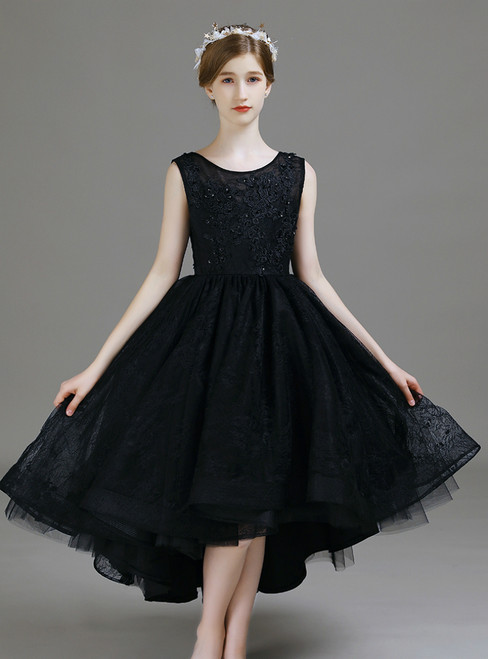 A-Line Black Lace Hi Lo Appliques Flower Girl Dress 2020