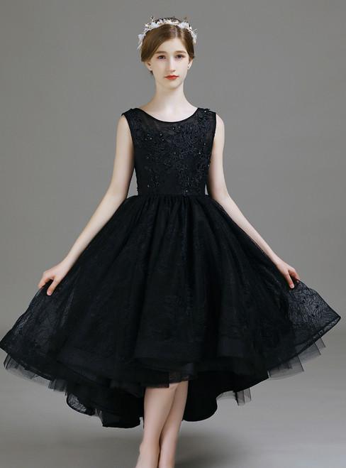 A-Line Black Lace Hi Lo Appliques Flower Girl Dress 2020