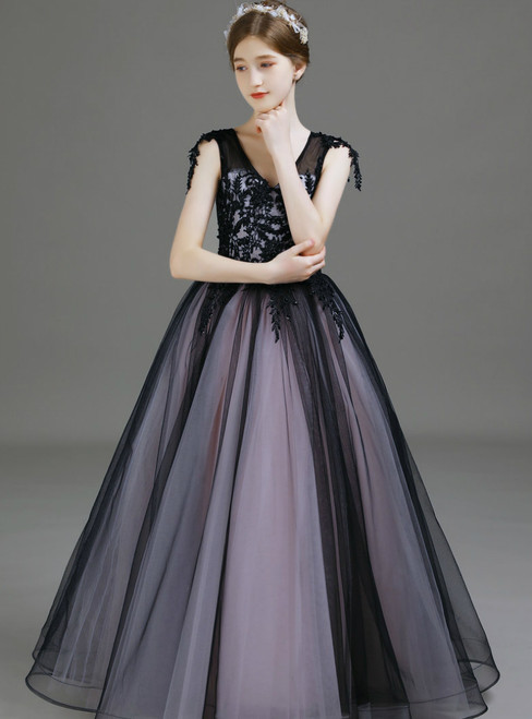 A-Line Black Tulle Lace Appliques V-neck Long Flower Girl Dress 2020