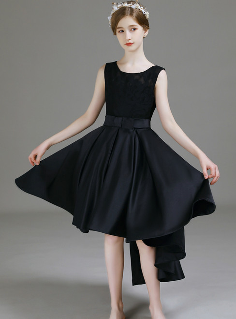 A-Line Black Satin Hi Lo Simple Flower Girl Dress