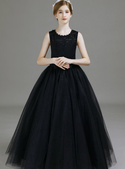Black Tulle Lace Sleeveless Long Flower Girl Dress 2020
