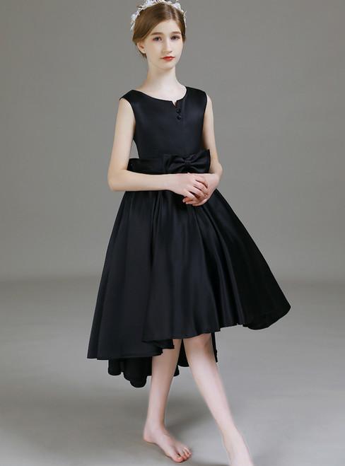 Fashion Black Satin Hi Lo Flower Girl Dress With Bow 2020