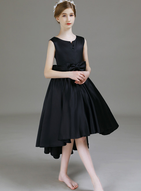 Fashion Black Satin Hi Lo Flower Girl Dress With Bow 2020