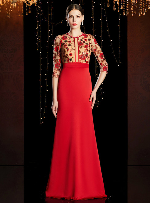 Sexy Red Satin 3/4 Sleeve Embroidery Appliques Mother of the Bride Dress