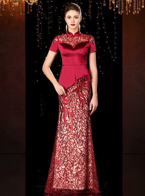 Sexy Burgundy Lace Sequins High Neck Short Sleeve Mother of the Bride Dress