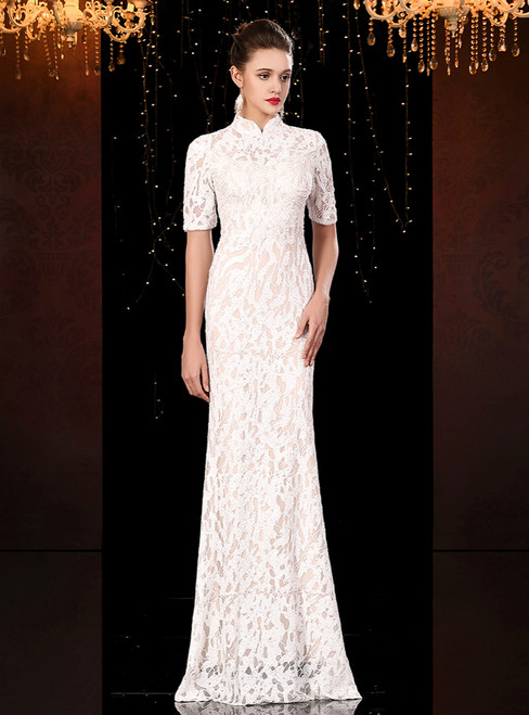 White Mermaid Lace Sequins High Neck Short Sleeve Mother Of The Bride Dress 2020