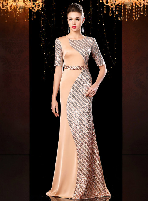 Champagne Gold Mermaid Sequins Satin Short Sleeve Mother Of The Bride Dress