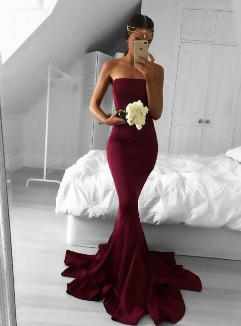 Strapless Mermaid Prom Dress Formal Occasion Gown