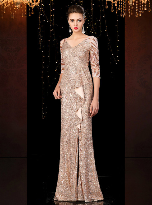 Gold Mermaid Sequins V-neck 3/4 Sleeve Mother of the Bride Dress