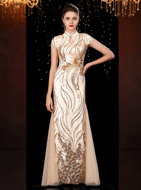 Gold Mermaid Sequins High Neck Cap Sleeve Mother of the Bride Dress