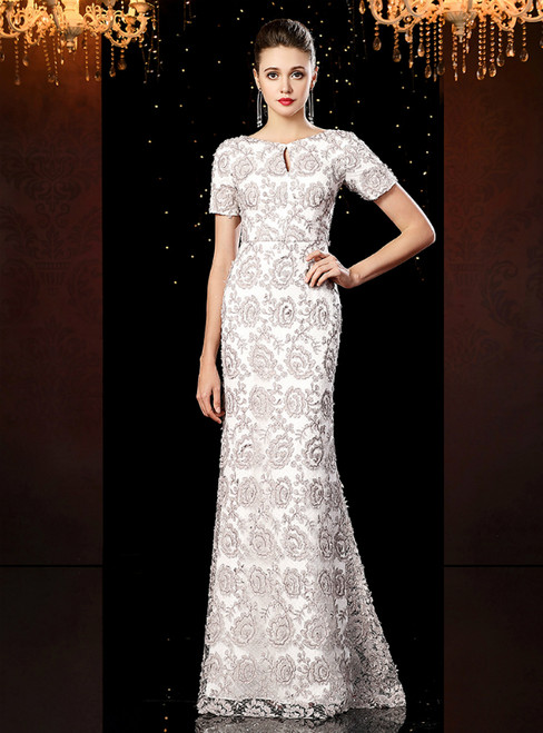 White Mermaid Lace Short Sleeve Long Mother of the Bride Dress