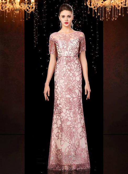 Pink Mermaid Sequins Cap Sleeve Mother of the Bride Dress 2020