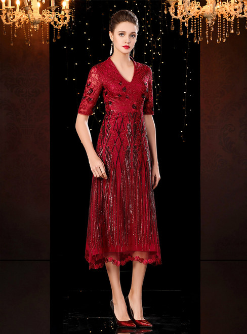 A-Line Burgundy Tulle Sequins V-neck Short Sleeve Mother of the Bride Dress 2020
