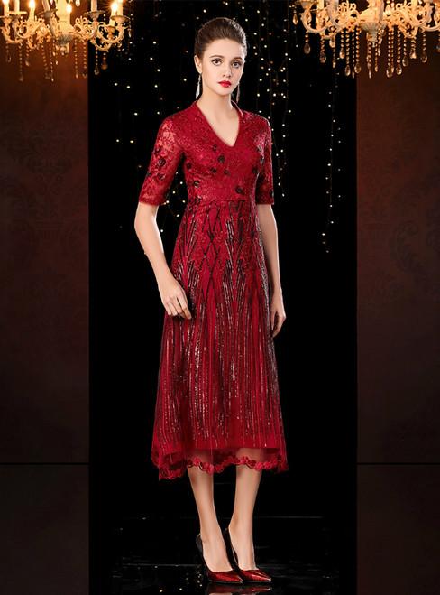 A-Line Burgundy Tulle Sequins V-neck Short Sleeve Mother of the Bride Dress 2020
