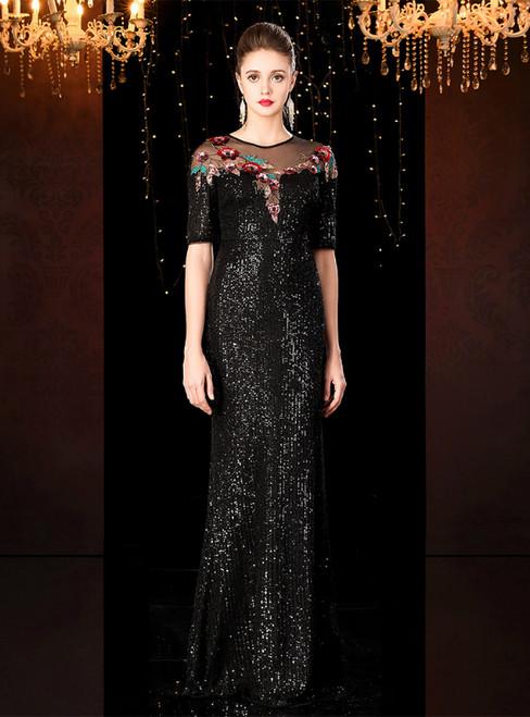 Black Mermaid Sequins Short Sleeve Appliques Mother of the Bride Dress 2020
