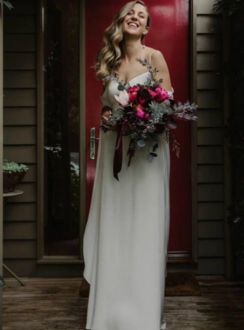 Simple White Chiffon Spagehtti Straps Long Wedding Dress