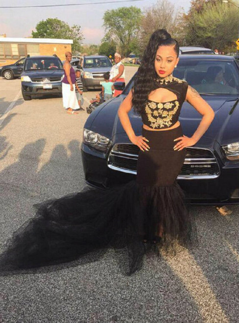 Black Mermaid 2 Pieces Tulle Backless Prom Dress
